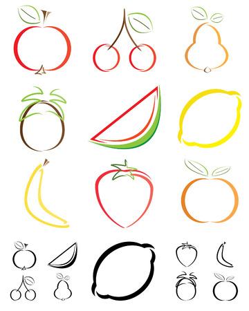 abstract fruit: Formas de fruta abstracta - ilustraciones
