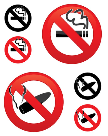 No smoking icons - Set of vector illustrations Illustration