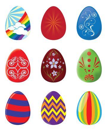 Set of 9 Easter eggs -  illustrations