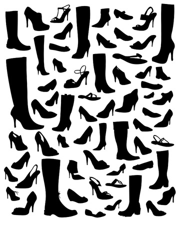 Collection of shoe silhouettes - vector illustrations