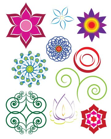 Set of vector illustrated flowers and floral ornaments