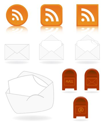 Set of email and feed icons - vector illustrations