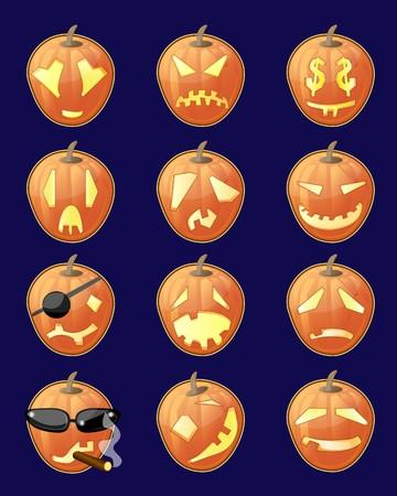 Set of jack-o-lanterns Illustration