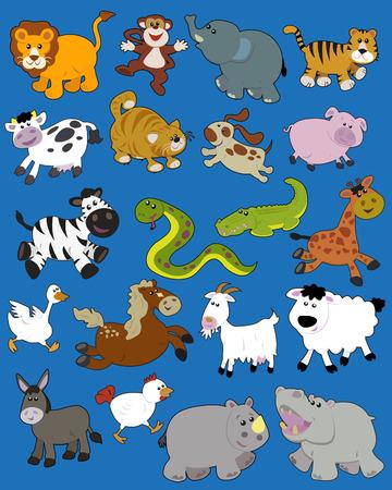 Set of illustrated animals - children style Stock Vector - 7765733