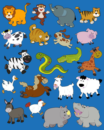 Set of illustrated animals - children style