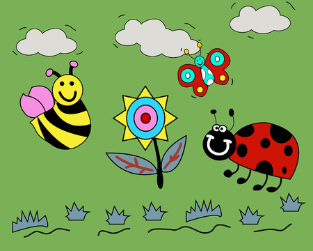Flower and happy bugs - children style Vector