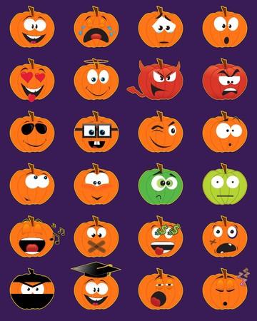 Set of 24 pumpkin-shaped smiley faces - illustrations