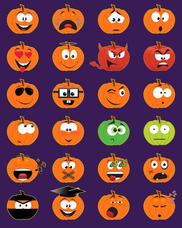 Set of 24 pumpkin-shaped smiley faces - illustrations