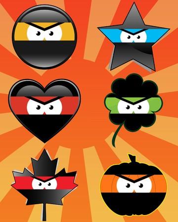 Set of 6 ninja emoticons - illustrations