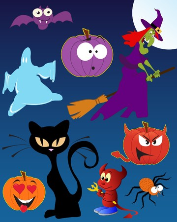 Funny Halloween - set of  illustrations Vector