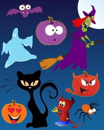Funny Halloween - set of  illustrations