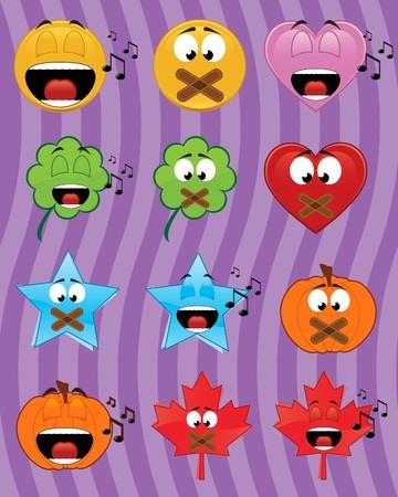 Set of music emoticons - illustrations