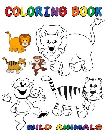 Wild animals coloring book - outlined and colored objects Vector