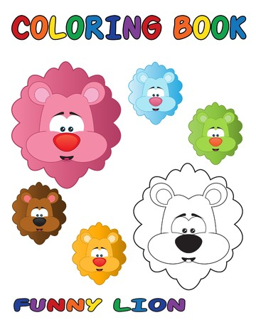 Funny lion coloring book - outlined and colored objects