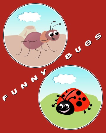 anthill: Ant and Ladybug - funny illustration