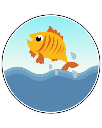 gold fish bowl: A Happy Goldfish - funny illustration Illustration