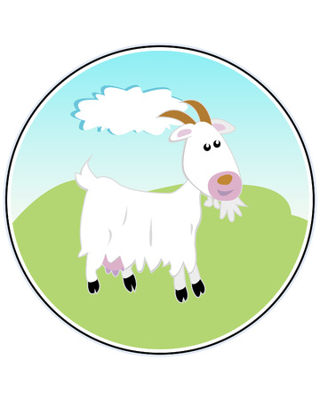 Happy Goat - funny illustration Illustration