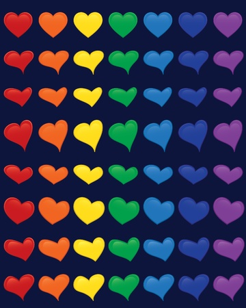 A beautiful set of hearts, which can be used both for web and print. Great for St. Valentine's Day prints! There are 8 different heart shapes in 7 different colors of rainbow (red, orange, yellow, green, blue, indigo, violet) in this collection! Stock Vector - 8537918