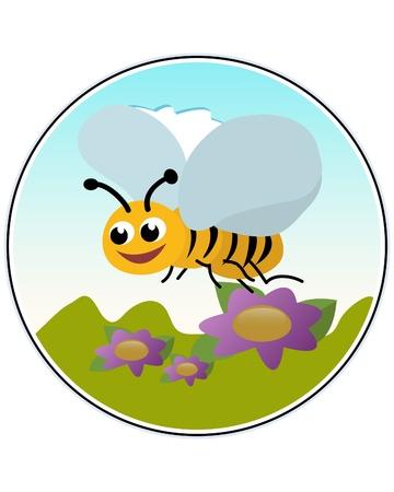 Happy bee - funny illustration Illustration