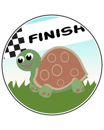 Turtle Racer - funny illustration