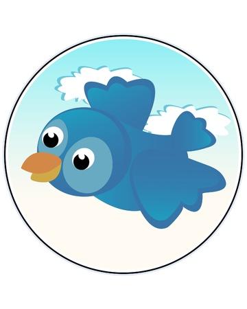 Happy bird - child like funny illustration Vector