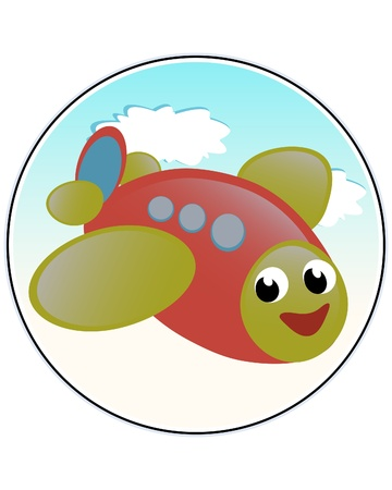 Funny airplane - funny childlike comic vector illustration