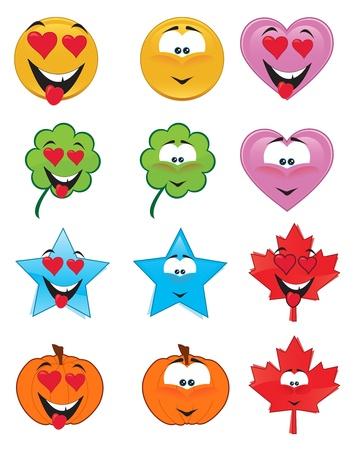 Set of emoticons - St. Valentine