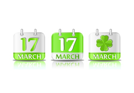 march 17th: Green calendar icon on March 17th. Saint Patricks day