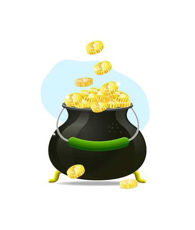 pot of gold: cauldron icon witn gold coins isolated on white background. Illustration on patricks day