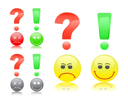 pictogram attention: Round smile face with question and exclamation marks