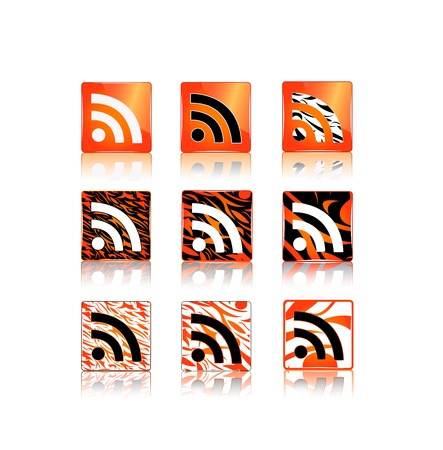 rss icons set with animal skin pattern  isolated on white background Stock Vector - 11904189