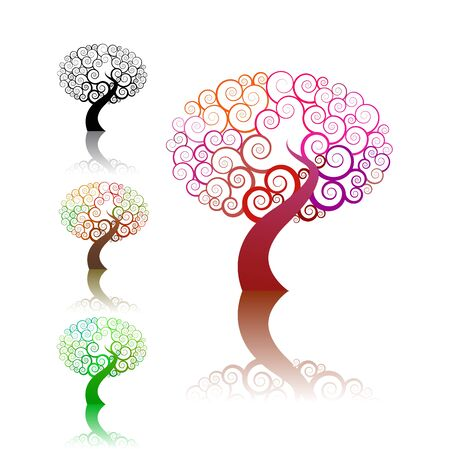 colorful abstract swirl tree icon set isolated on white background Vector