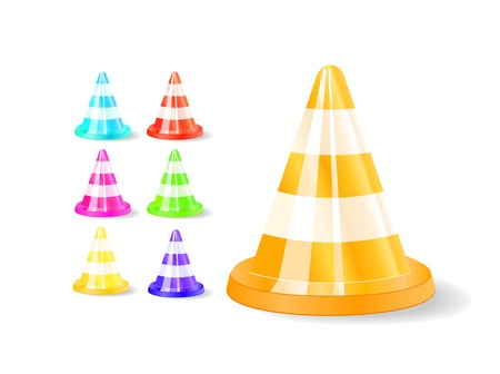colorful traffic cones icons isolated on white background