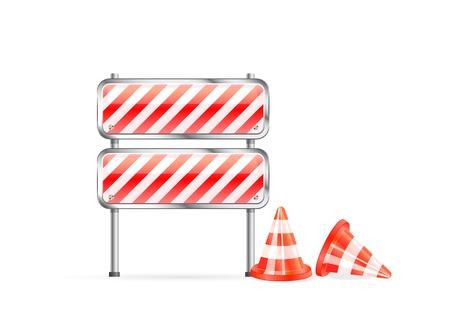 blocco stradale: coni rossi e icona barriera a strisce isolato su sfondo bianco