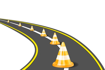 work safe: Orange Road Cones on Highway. Vector Illustration