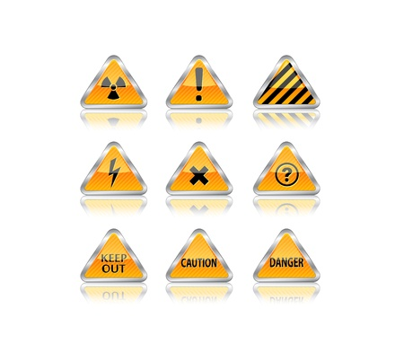harmful to the environment: Hazard road sign set. Vector illustration Illustration