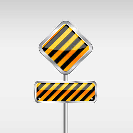 Under Construction Danger Sign in Yellow Black Color. Vector
