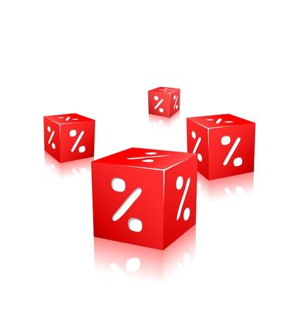 흰색 배경에 고립 된 비율 표시와 빨간색 큐브