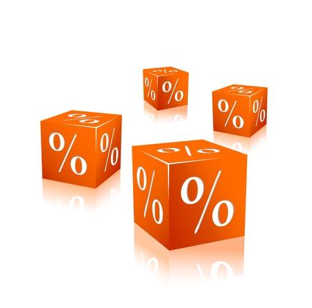 orange cubes with percentage mark isolated on white background Illustration