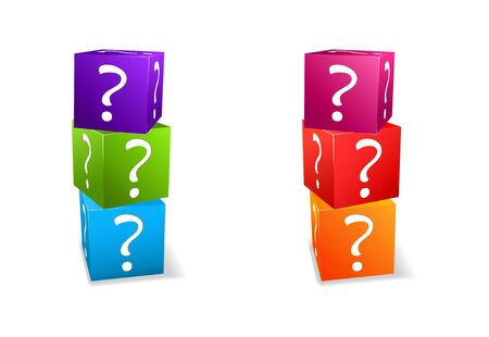internet mark: icon set cubes with question mark isolated on white background Illustration