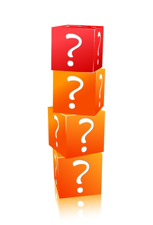 orange and red stack of cubes with question mark isolated on white background Vector