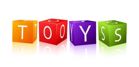 juguetes de madera: juguetes palabra compuesta a partir de cubos de letras. ilustraci�n de fondo aislado onwhite