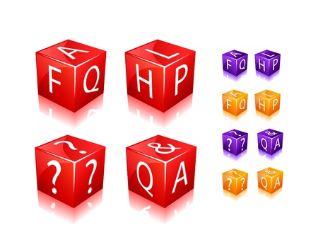 FAQ and Help Text on Cubes. Icon Set Isolated on White Background. Vector Illustration.  Vector