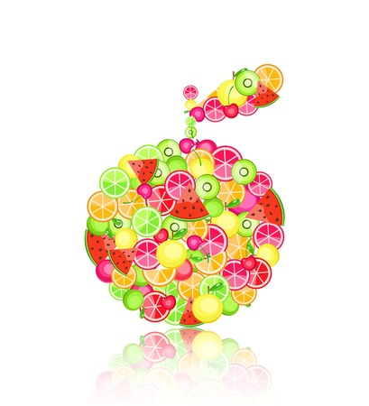 rich in vitamins: apple silhouette composed of different fruits - pomegranate orange apple cherry watermelon on white background