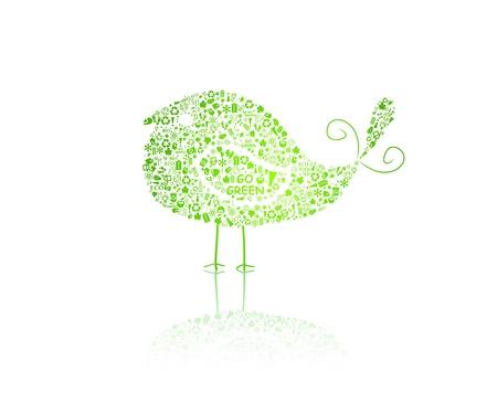 basura organica: aves silueta compuesta de signos va el verde eco de fondo blanco - bombilla, hoja, planeta, gota, manzana, casa, basura. Ecología concepto. Vector.