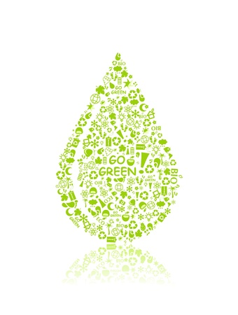 go green eco pattern in drop silhouette on white backdrop - bulb, leaf, globe, apple, house, trash. Ecology concept. Illustration