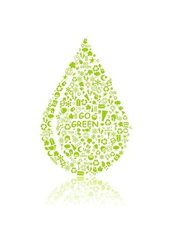 kropla deszczu: iść zielony eko wzorca sylwetki kropli na białym tle - żarówka, liść, kula ziemska, jabłko, dom, śmieci. Ekologia pojęcia.