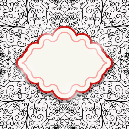 Vector Black Red White Invitation Card with Abstract Pattern and Red Label  Grunge Background  Vector
