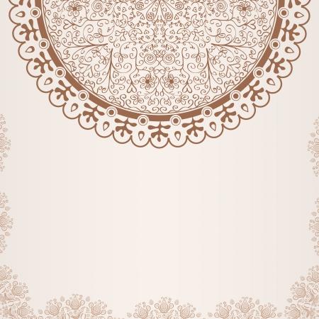 절반 실루엣 꽃 요소와 추상 손으로 그린 베이지 카드 일러스트