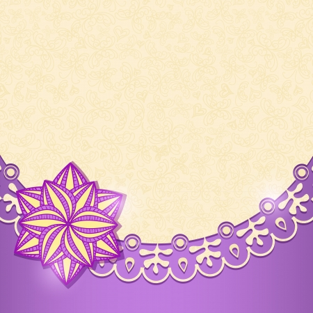 Violet Shiny Floral Invitation Card in Retro Style  Vector Background Illustration